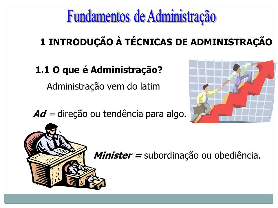 1 INTRODUÇÃO À TÉCNICAS DE ADMINISTRAÇÃO 1.1 O que é Administração? Administração vem do latim Ad = direção ou tendência para algo. Minister = subordi