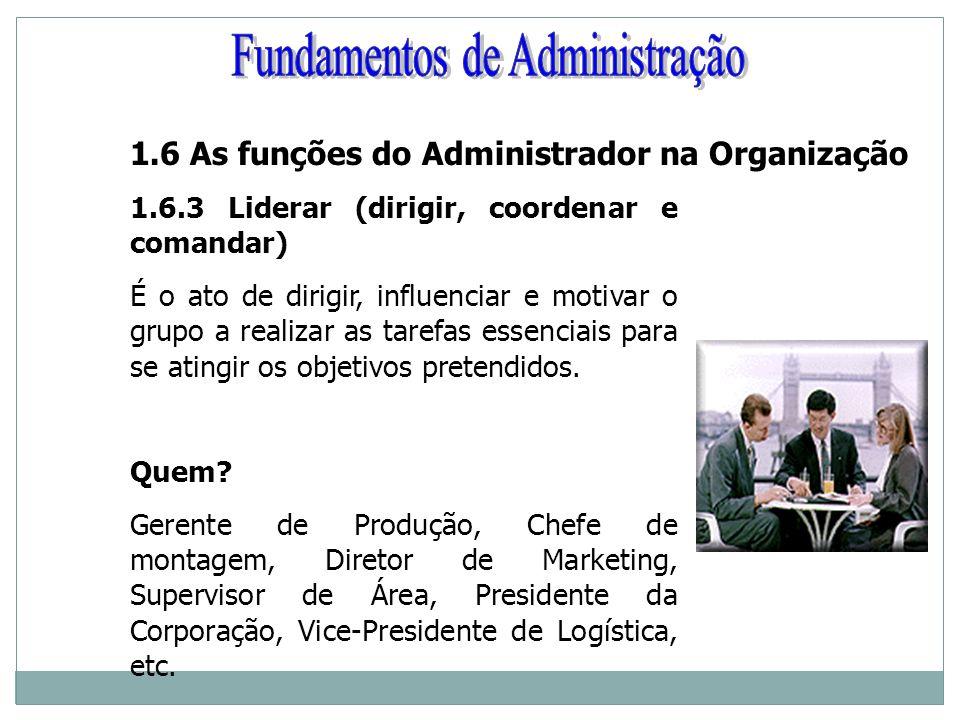1.6 As funções do Administrador na Organização 1.6.3 Liderar (dirigir, coordenar e comandar) É o ato de dirigir, influenciar e motivar o grupo a reali
