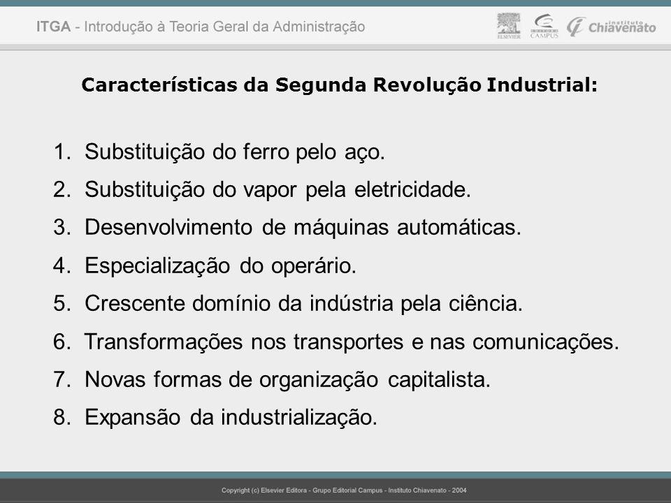Características da Segunda Revolução Industrial: 1. Substituição do ferro pelo aço. 2. Substituição do vapor pela eletricidade. 3. Desenvolvimento de