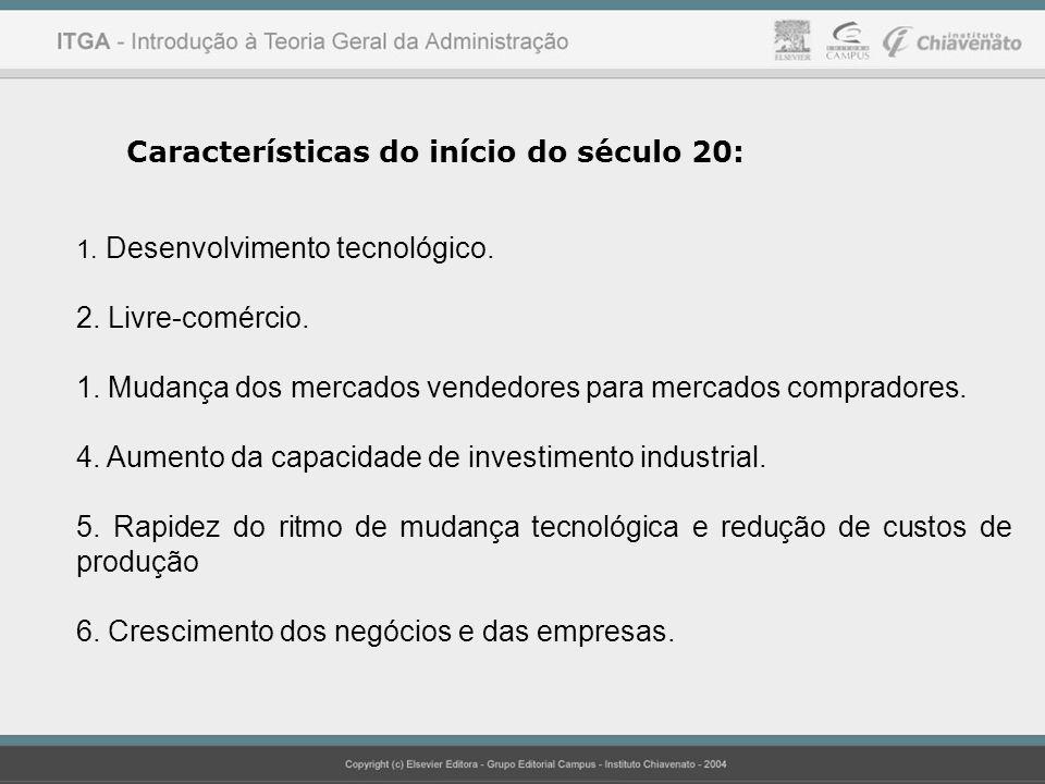 Características do início do século 20: 1. Desenvolvimento tecnológico. 2. Livre-comércio. 1. Mudança dos mercados vendedores para mercados compradore