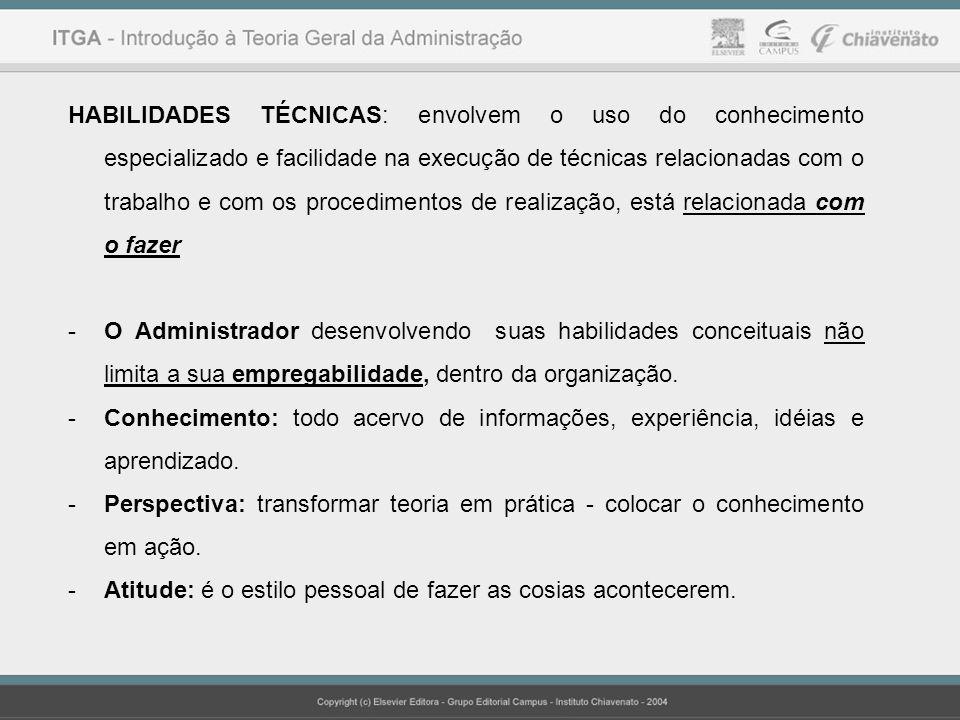 HABILIDADES TÉCNICAS: envolvem o uso do conhecimento especializado e facilidade na execução de técnicas relacionadas com o trabalho e com os procedime