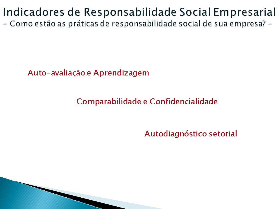 Auto-avaliação e Aprendizagem Comparabilidade e Confidencialidade Autodiagnóstico setorial