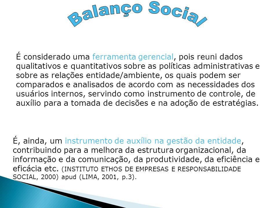 É considerado uma ferramenta gerencial, pois reuni dados qualitativos e quantitativos sobre as políticas administrativas e sobre as relações entidade/