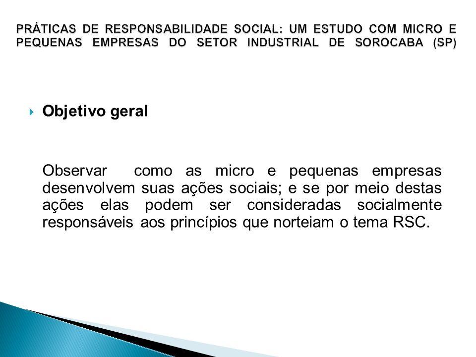 Objetivo geral Observar como as micro e pequenas empresas desenvolvem suas ações sociais; e se por meio destas ações elas podem ser consideradas socia