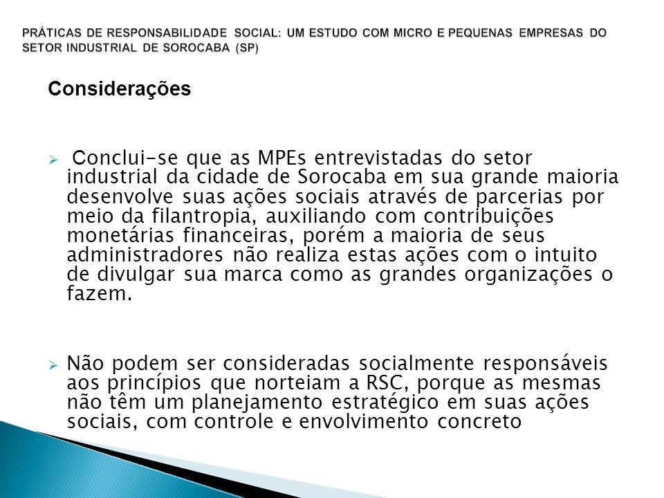 Considerações C onclui-se que as MPEs entrevistadas do setor industrial da cidade de Sorocaba em sua grande maioria desenvolve suas ações sociais atra