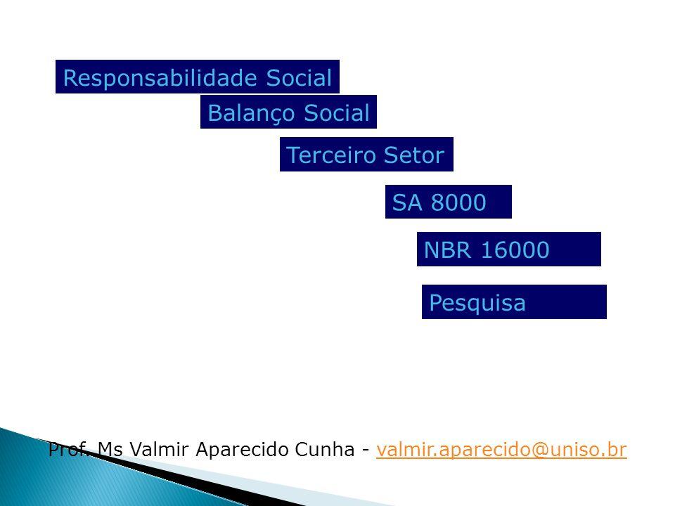 Prof. Ms Valmir Aparecido Cunha - valmir.aparecido@uniso.brvalmir.aparecido@uniso.br Responsabilidade Social Terceiro Setor SA 8000 Balanço Social NBR