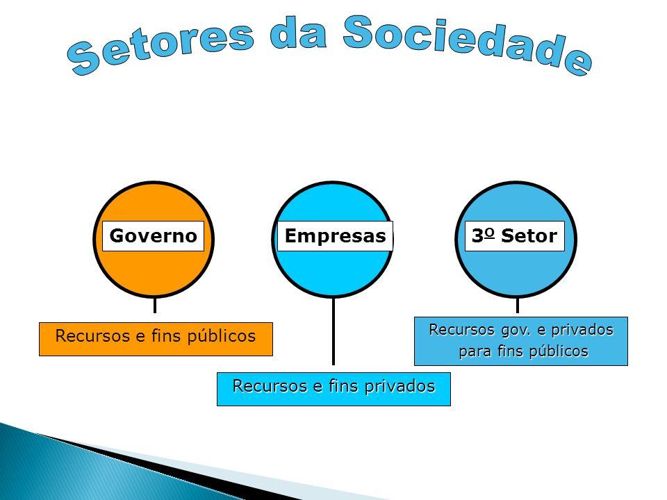 Governo Recursos e fins públicos Empresas Recursos e fins privados 3 O Setor Recursos gov. e privados para fins públicos para fins públicos