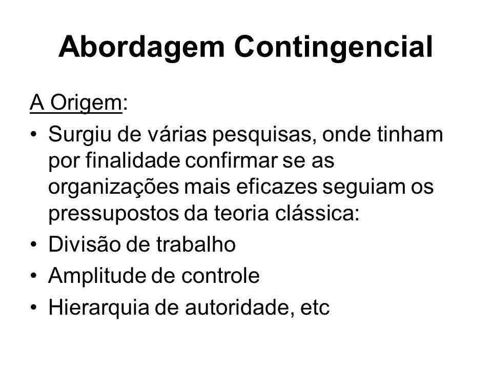Abordagem Contingencial A Origem: Surgiu de várias pesquisas, onde tinham por finalidade confirmar se as organizações mais eficazes seguiam os pressup