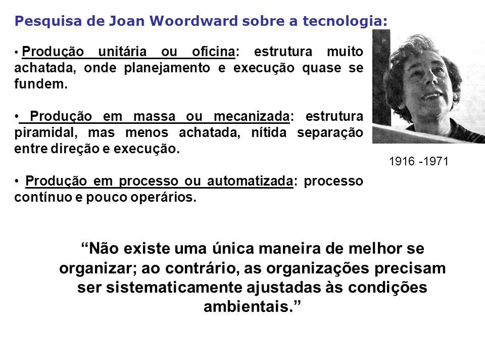 Pesquisa de Joan Woordward sobre a tecnologia: Não existe uma única maneira de melhor se organizar; ao contrário, as organizações precisam ser sistema