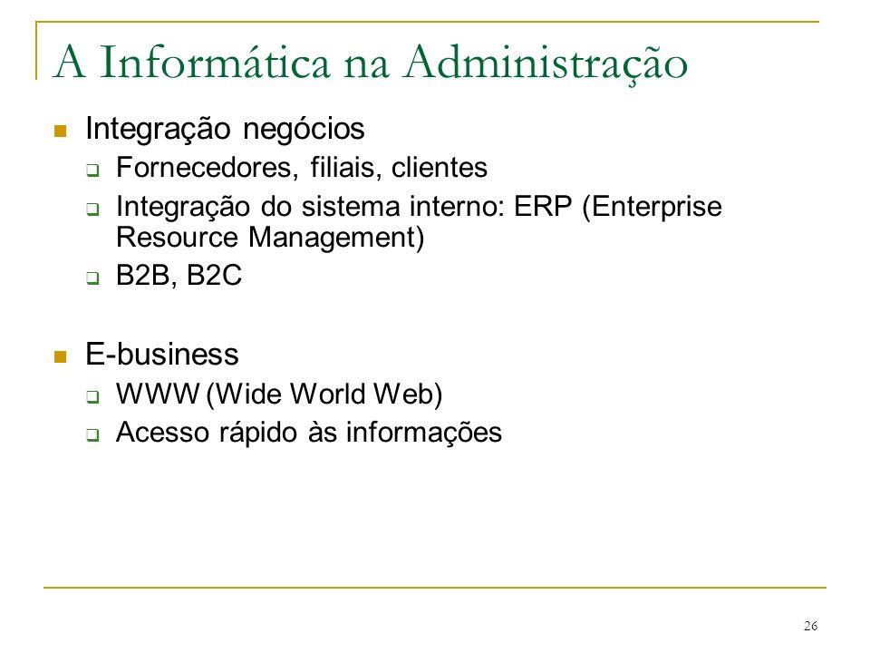 CEUT 26 A Informática na Administração Integração negócios Fornecedores, filiais, clientes Integração do sistema interno: ERP (Enterprise Resource Man