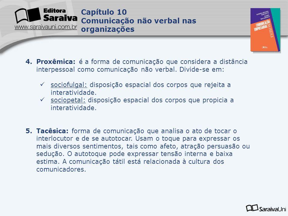 Capa da Obra Capítulo 10 Comunicação não verbal nas organizações 4.Proxêmica: é a forma de comunicação que considera a distância interpessoal como comunicação não verbal.