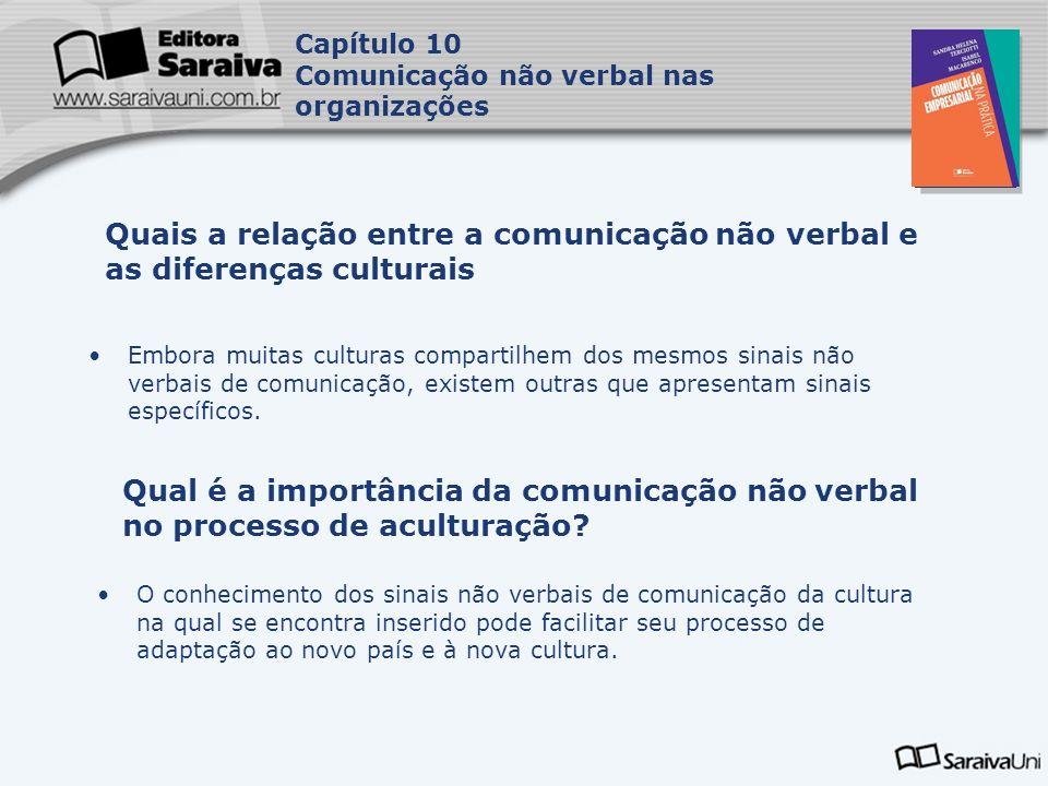 Capa da Obra Capítulo 10 Comunicação não verbal nas organizações Embora muitas culturas compartilhem dos mesmos sinais não verbais de comunicação, existem outras que apresentam sinais específicos.