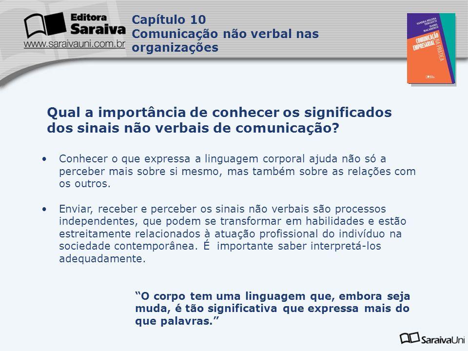 Capa da Obra Capítulo 10 Comunicação não verbal nas organizações Formas de comunicação não verbal: 1.Cinésica (expressão facial, olhar (oculésia), postura e gestos).
