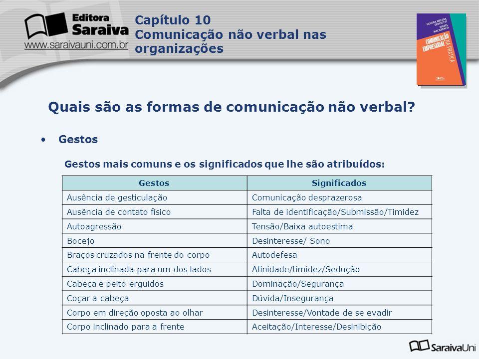 Capa da Obra Capítulo 10 Comunicação não verbal nas organizações Gestos Gestos mais comuns e os significados que lhe são atribuídos: Quais são as formas de comunicação não verbal.