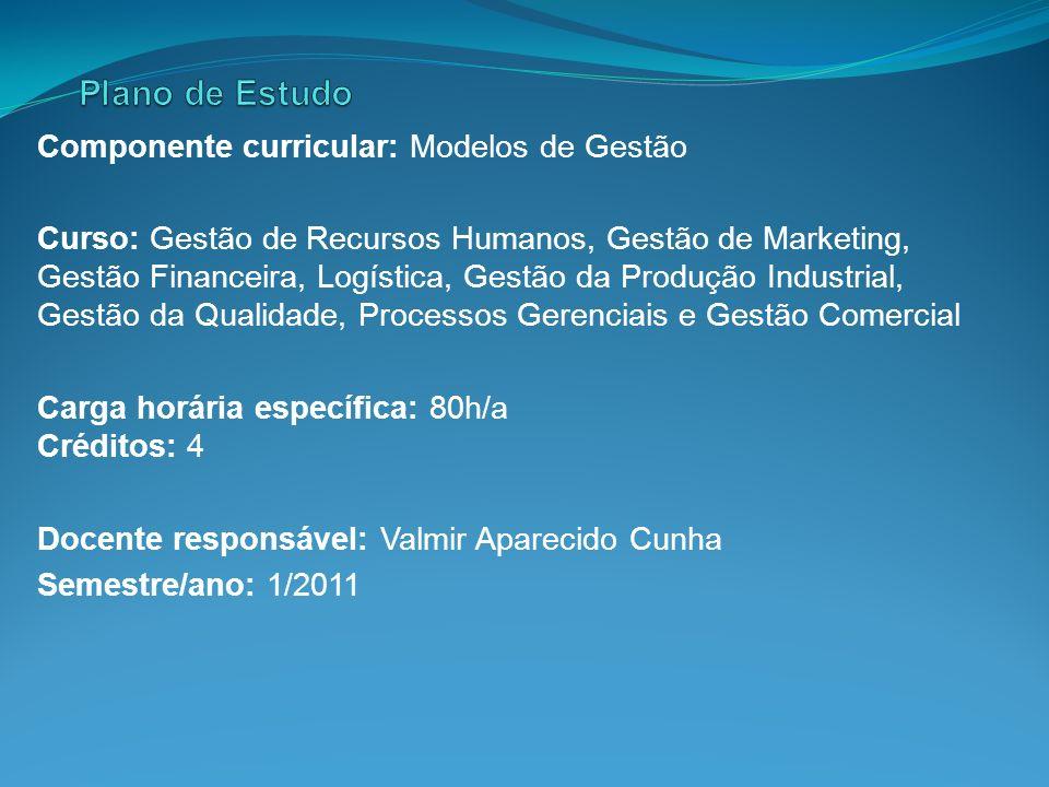 Componente curricular: Modelos de Gestão Curso: Gestão de Recursos Humanos, Gestão de Marketing, Gestão Financeira, Logística, Gestão da Produção Indu