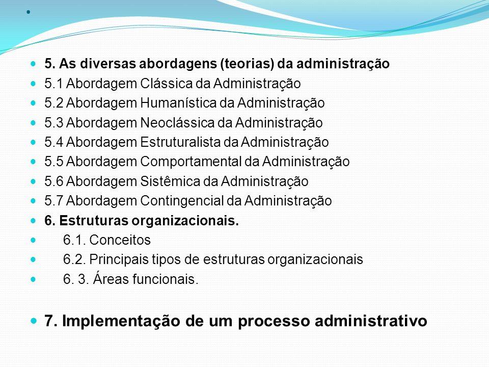 . 5. As diversas abordagens (teorias) da administração 5.1 Abordagem Clássica da Administração 5.2 Abordagem Humanística da Administração 5.3 Abordage