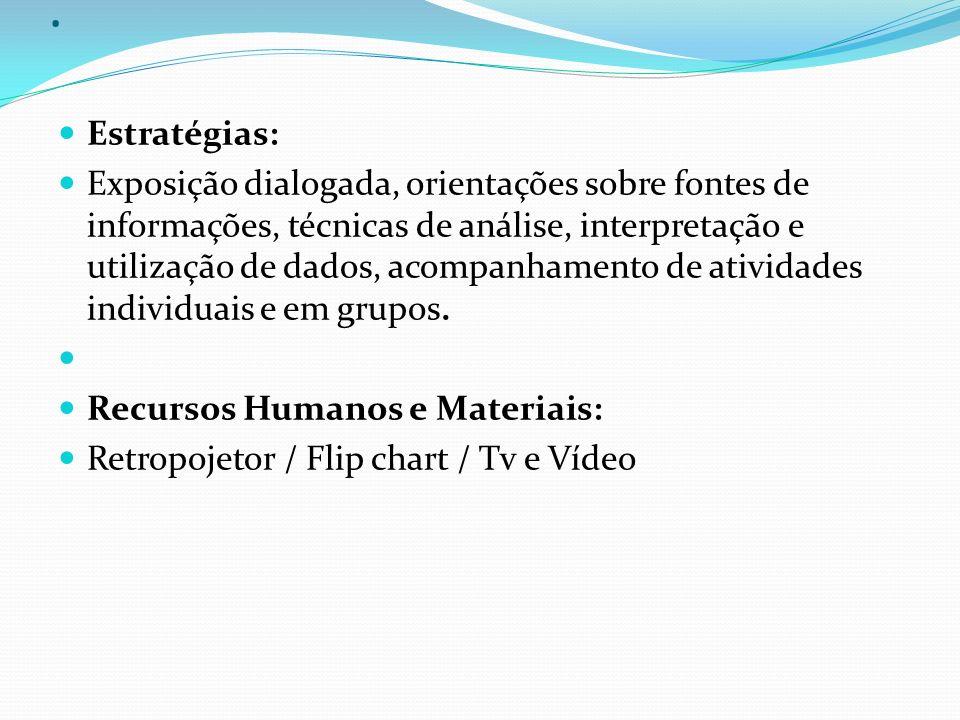 . Estratégias: Exposição dialogada, orientações sobre fontes de informações, técnicas de análise, interpretação e utilização de dados, acompanhamento