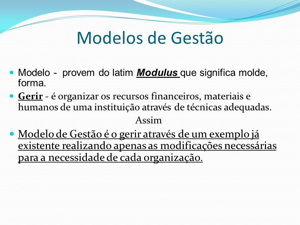 Modelos de Gestão Modelo - provem do latim Modulus que significa molde, forma. Gerir - é organizar os recursos financeiros, materiais e humanos de uma