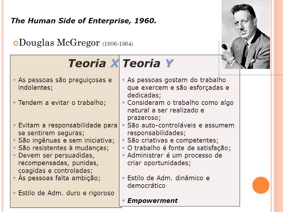 Douglas McGregor (1906-1964) The Human Side of Enterprise, 1960. X Teoria X As pessoas são preguiçosas e indolentes; Tendem a evitar o trabalho; Evita