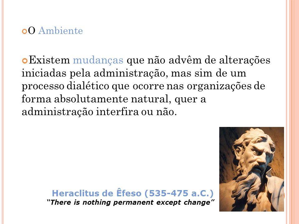 O Ambiente Existem mudanças que não advêm de alterações iniciadas pela administração, mas sim de um processo dialético que ocorre nas organizações de