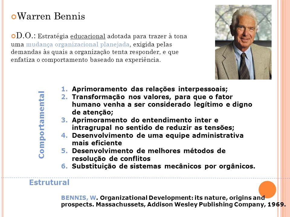 Warren Bennis D.O.: Estratégia educacional adotada para trazer à tona uma mudança organizacional planejada, exigida pelas demandas às quais a organiza
