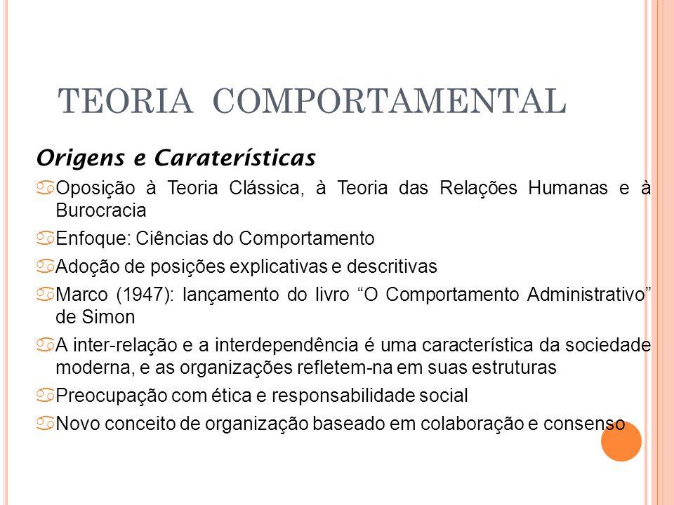 TEORIA COMPORTAMENTAL Origens e Caraterísticas aOposição à Teoria Clássica, à Teoria das Relações Humanas e à Burocracia aEnfoque: Ciências do Comport
