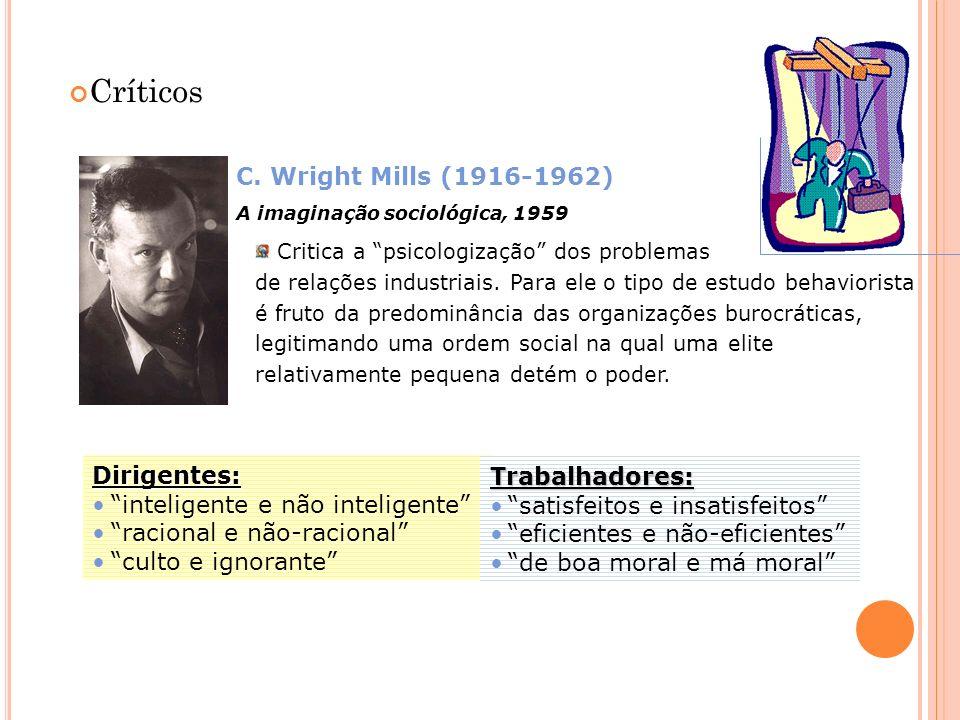 Críticos C. Wright Mills (1916-1962) A imaginação sociológica, 1959 Critica a psicologização dos problemas de relações industriais. Para ele o tipo de