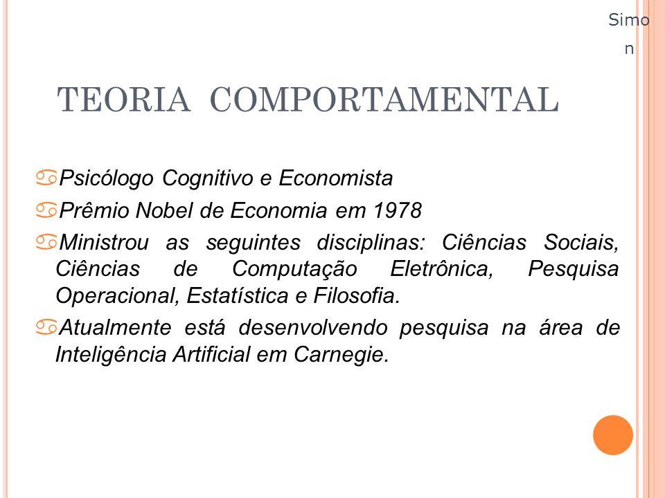 TEORIA COMPORTAMENTAL aPsicólogo Cognitivo e Economista aPrêmio Nobel de Economia em 1978 aMinistrou as seguintes disciplinas: Ciências Sociais, Ciênc