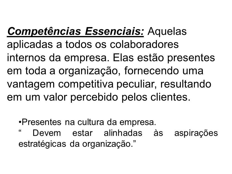 Competências Essenciais: Aquelas aplicadas a todos os colaboradores internos da empresa. Elas estão presentes em toda a organização, fornecendo uma va