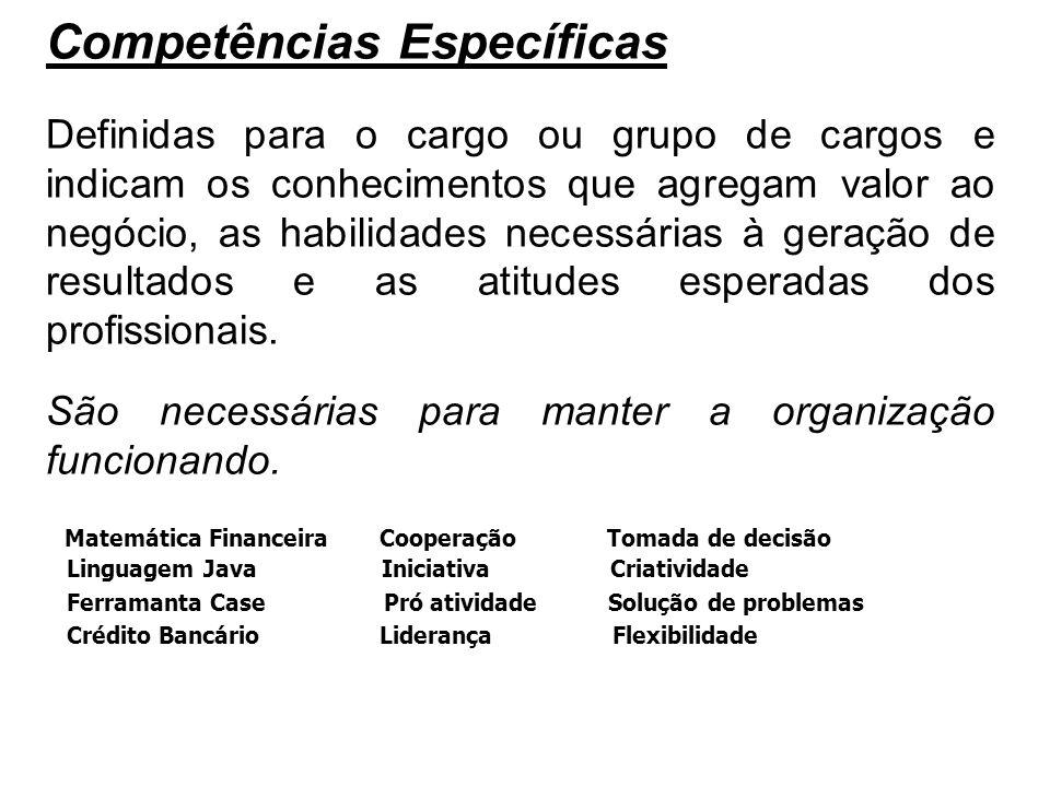 Competências Específicas Definidas para o cargo ou grupo de cargos e indicam os conhecimentos que agregam valor ao negócio, as habilidades necessárias