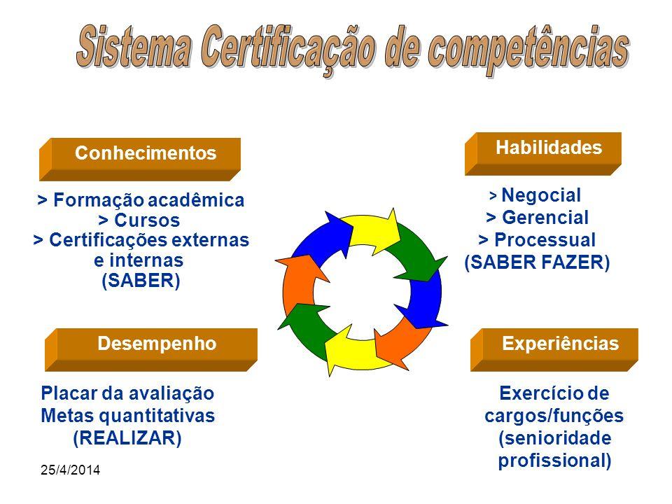 25/4/2014 Habilidades > Negocial > Gerencial > Processual (SABER FAZER) Experiências Exercício de cargos/funções (senioridade profissional) Conhecimen