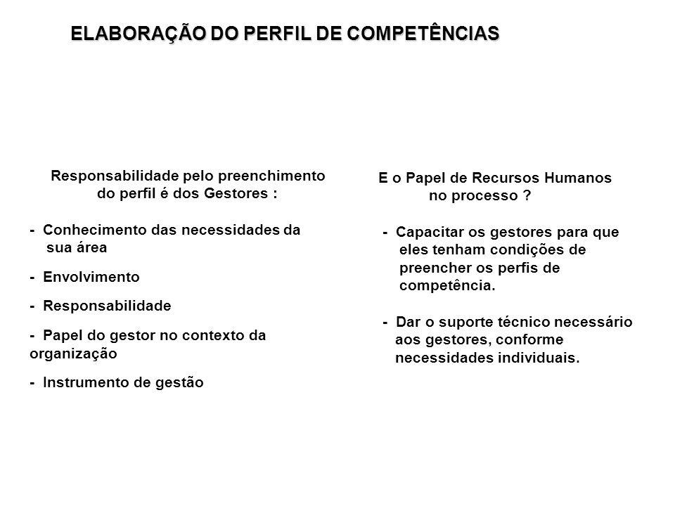Responsabilidade pelo preenchimento do perfil é dos Gestores : - Conhecimento das necessidades da sua área - Envolvimento - Responsabilidade - Papel d