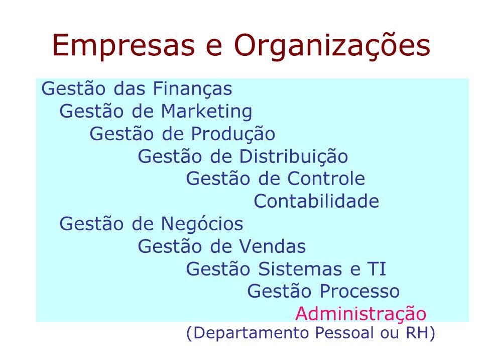 Empresas e Organizações Gestão das Finanças Gestão de Marketing Gestão de Produção Gestão de Distribuição Gestão de Controle Contabilidade Gestão de N