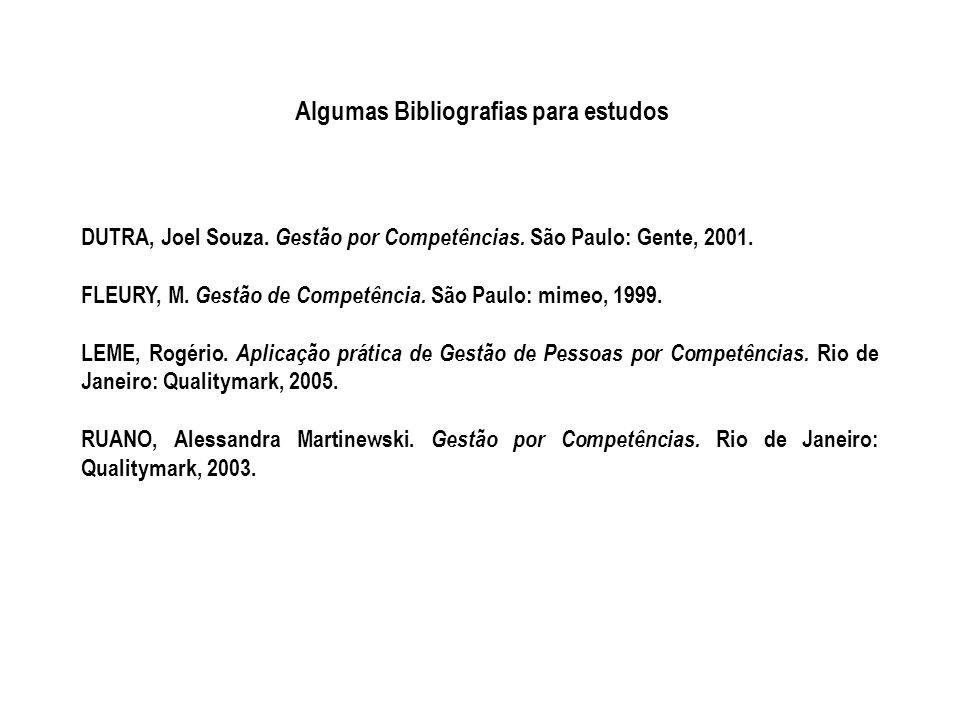 Algumas Bibliografias para estudos DUTRA, Joel Souza. Gestão por Competências. São Paulo: Gente, 2001. FLEURY, M. Gestão de Competência. São Paulo: mi