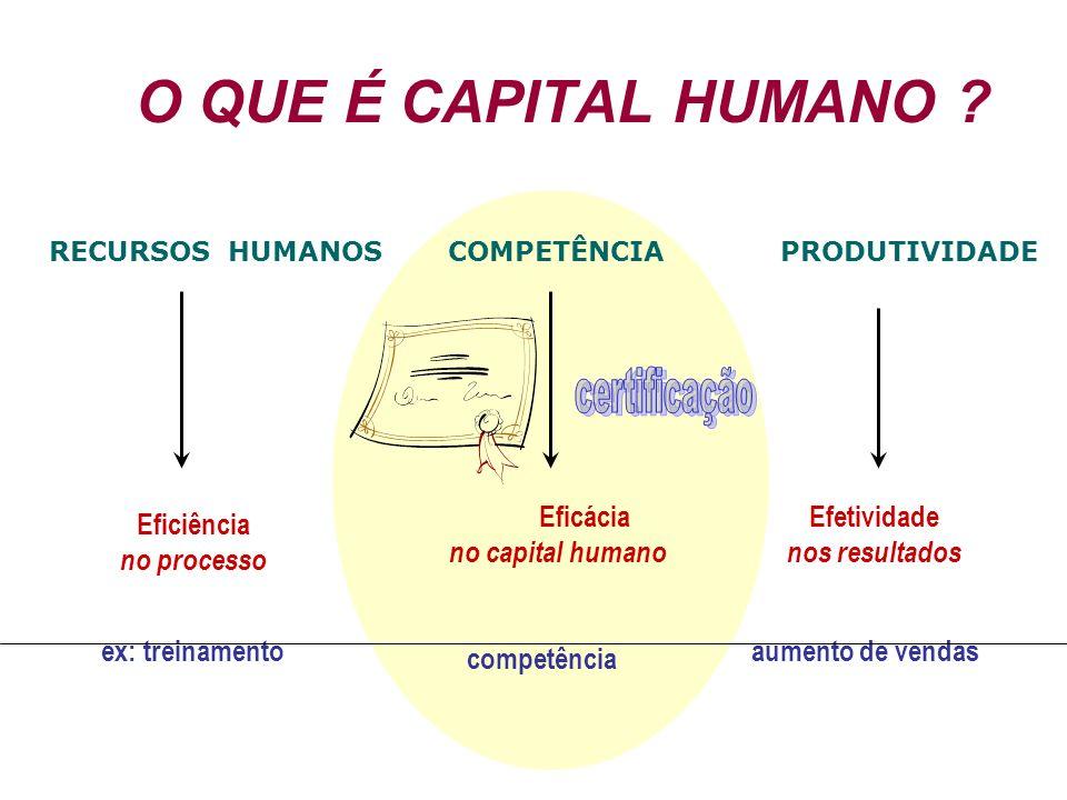 O QUE É CAPITAL HUMANO ? RECURSOS HUMANOS COMPETÊNCIA PRODUTIVIDADE Eficiência no processo Eficácia no capital humano Efetividade nos resultados ex: t
