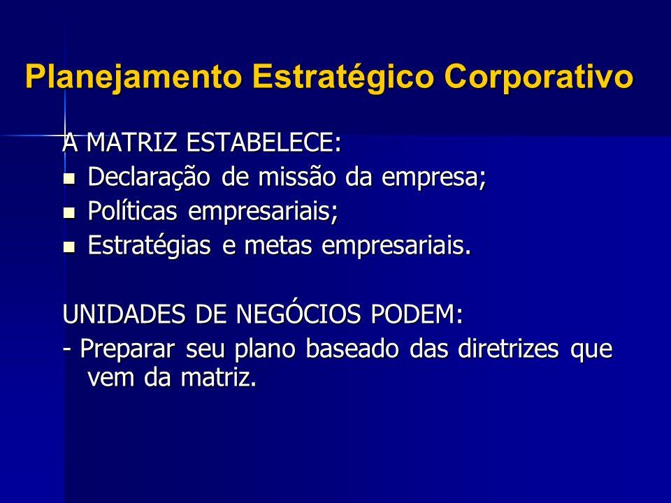 Planejamento Estratégico Corporativo A MATRIZ ESTABELECE: Declaração de missão da empresa; Declaração de missão da empresa; Políticas empresariais; Po