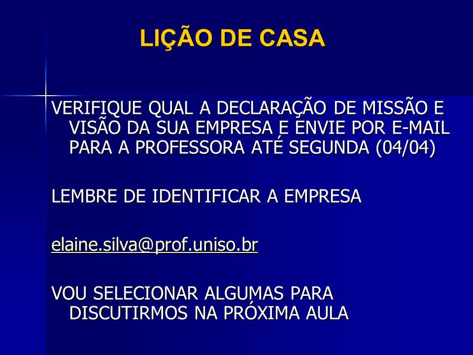 LIÇÃO DE CASA VERIFIQUE QUAL A DECLARAÇÃO DE MISSÃO E VISÃO DA SUA EMPRESA E ENVIE POR E-MAIL PARA A PROFESSORA ATÉ SEGUNDA (04/04) LEMBRE DE IDENTIFI