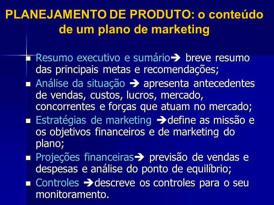 PLANEJAMENTO DE PRODUTO: o conteúdo de um plano de marketing Resumo executivo e sumário breve resumo das principais metas e recomendações; Resumo exec