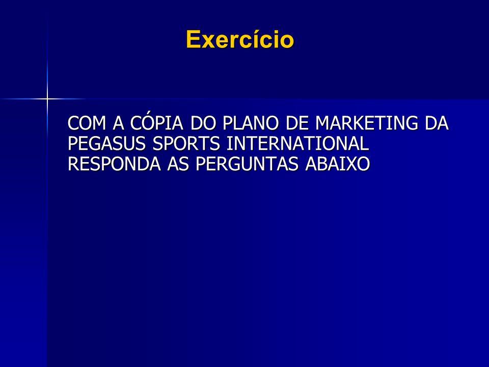 Exercício COM A CÓPIA DO PLANO DE MARKETING DA PEGASUS SPORTS INTERNATIONAL RESPONDA AS PERGUNTAS ABAIXO