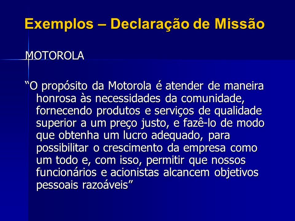 Exemplos – Declaração de Missão MOTOROLA O propósito da Motorola é atender de maneira honrosa às necessidades da comunidade, fornecendo produtos e ser