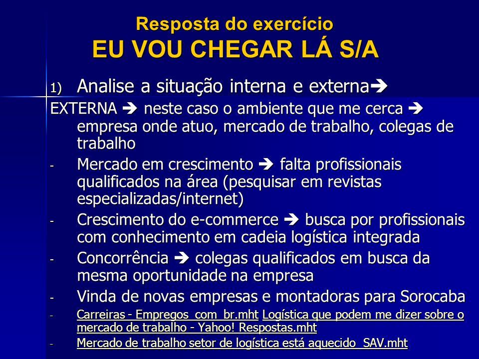 LIÇÃO DE CASA VERIFIQUE QUAL A DECLARAÇÃO DE MISSÃO E VISÃO DA SUA EMPRESA E ENVIE POR E-MAIL PARA A PROFESSORA ATÉ SEGUNDA (04/04) LEMBRE DE IDENTIFICAR A EMPRESA elaine.silva@prof.uniso.br VOU SELECIONAR ALGUMAS PARA DISCUTIRMOS NA PRÓXIMA AULA