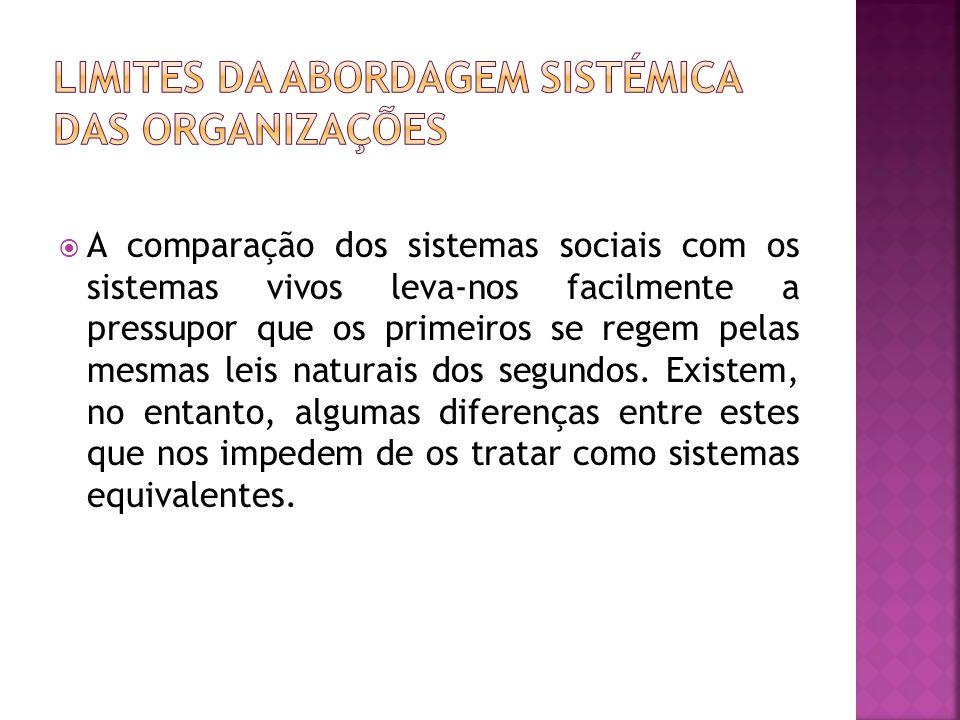 A comparação dos sistemas sociais com os sistemas vivos leva-nos facilmente a pressupor que os primeiros se regem pelas mesmas leis naturais dos segun
