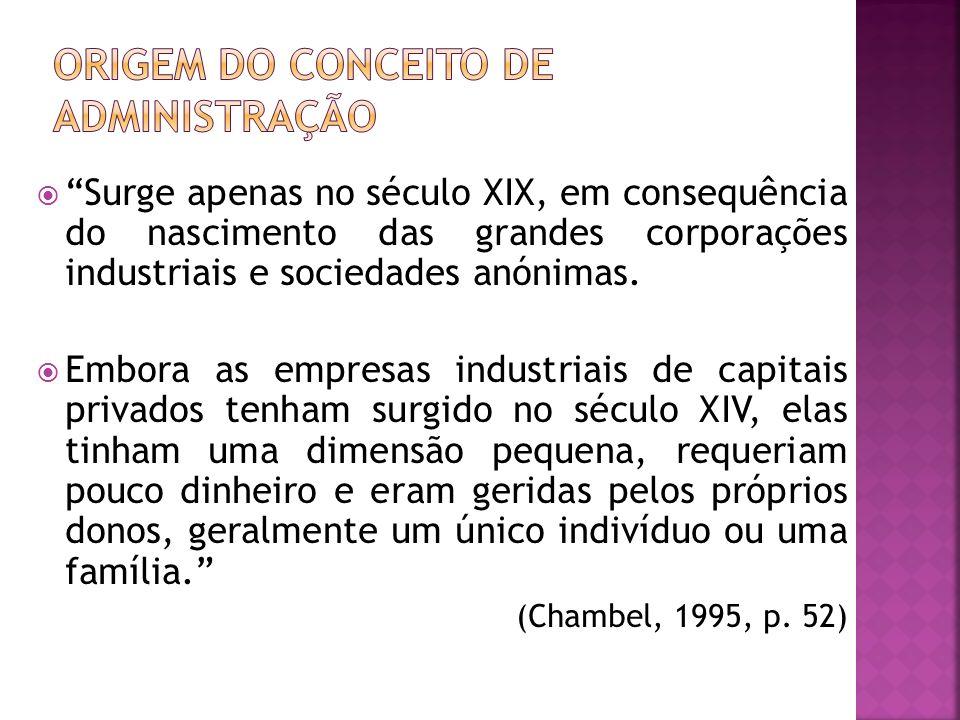 Surge apenas no século XIX, em consequência do nascimento das grandes corporações industriais e sociedades anónimas. Embora as empresas industriais de