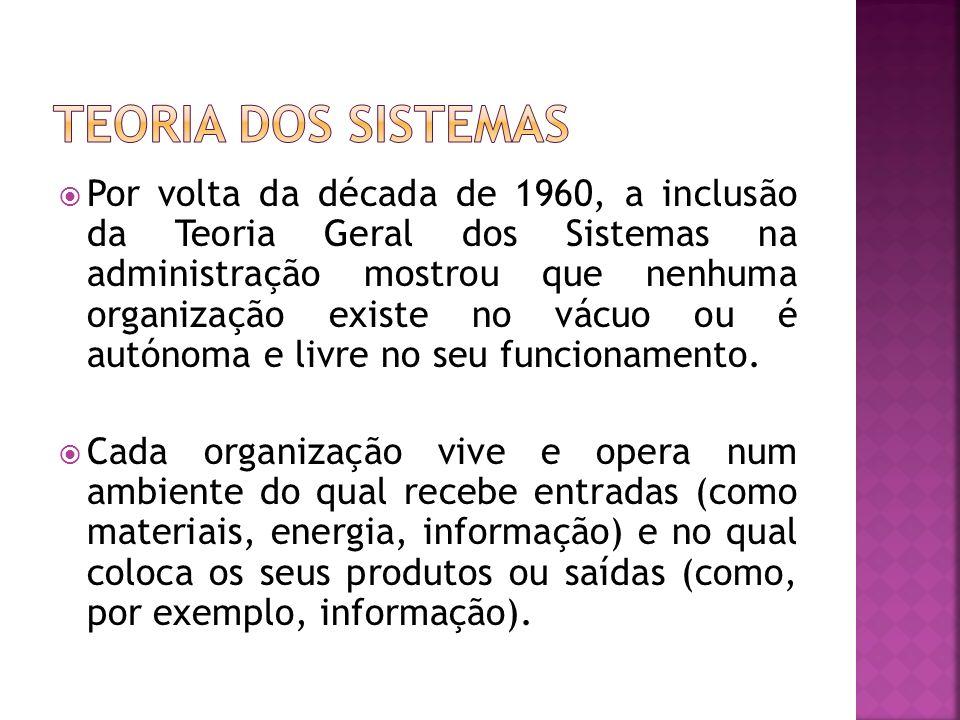 Por volta da década de 1960, a inclusão da Teoria Geral dos Sistemas na administração mostrou que nenhuma organização existe no vácuo ou é autónoma e
