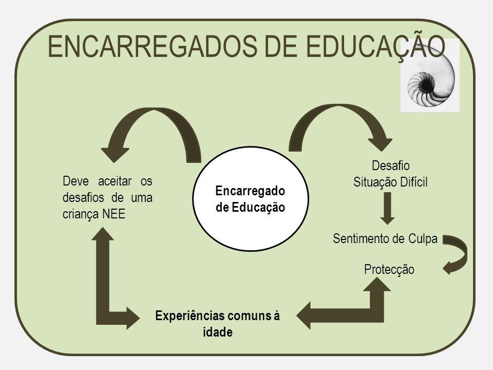ENCARREGADOS DE EDUCAÇÃO Encarregado de Educação Desafio Situação Difícil Sentimento de Culpa Protecção Deve aceitar os desafios de uma criança NEE Ex