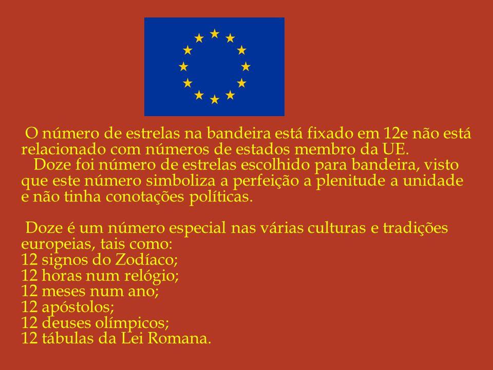 O número de estrelas na bandeira está fixado em 12e não está relacionado com números de estados membro da UE.