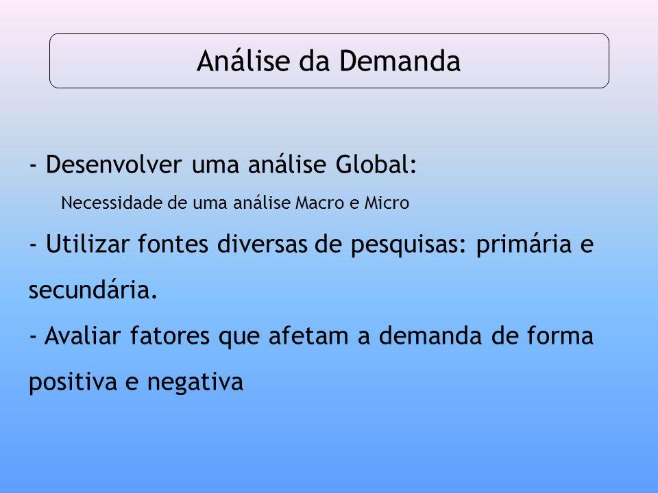 - Desenvolver uma análise Global: Necessidade de uma análise Macro e Micro - Utilizar fontes diversas de pesquisas: primária e secundária. - Avaliar f