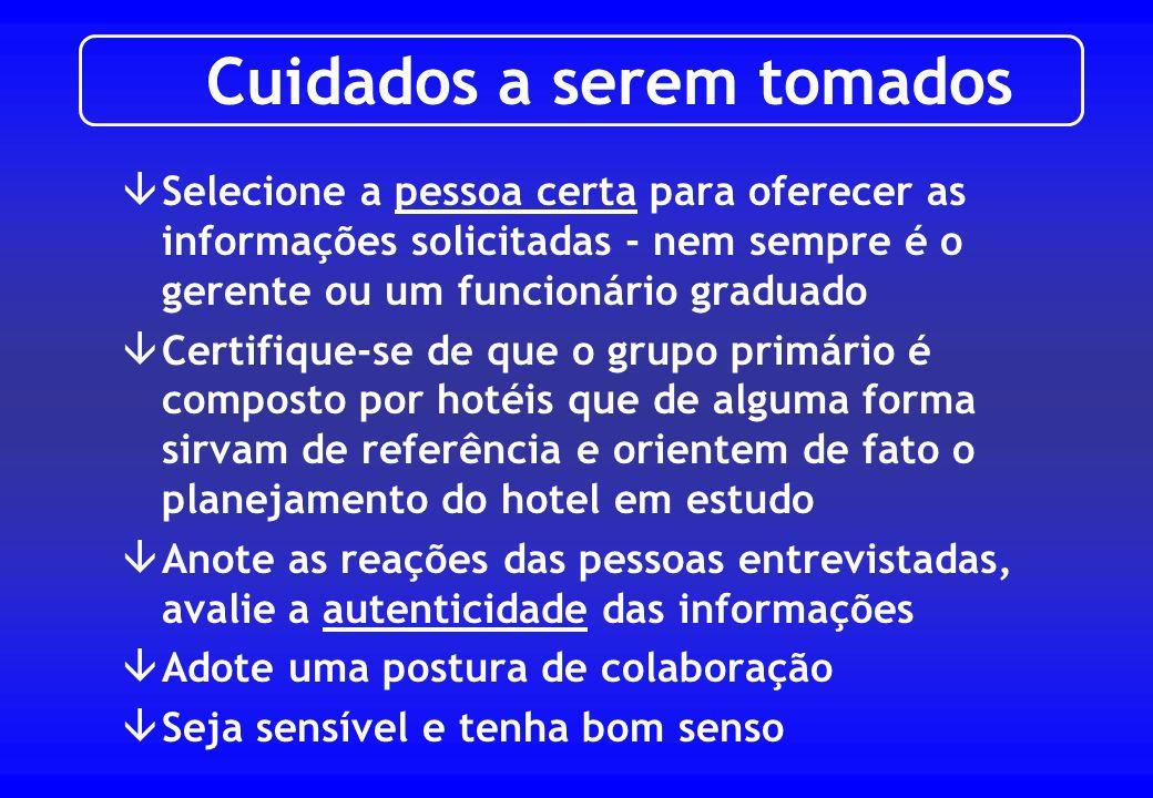 âAdotar um critério de classificação do grupo de hotéis âIdentificar a área de influência mercadológica âListar os hotéis existentes e em desenvolvime
