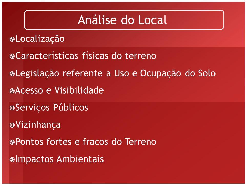 Localização Análise do Local -Importante, principalmente por ser irreversível – muda- se público-alvo, posicionamento, tarifa, etc., menos a localização.