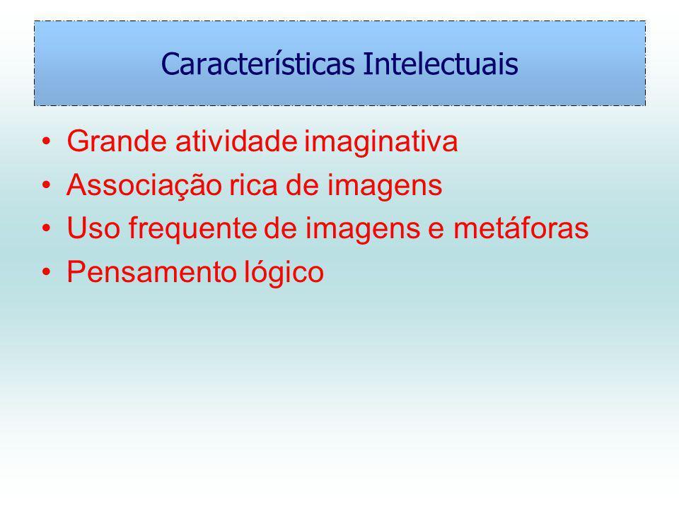 Características Intelectuais Grande atividade imaginativa Associação rica de imagens Uso frequente de imagens e metáforas Pensamento lógico